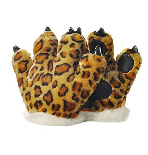 LANFIRE Flauschige künstliche Tiger und Dinosaurier Paw Handschuhe, Stirnband und Schwanz Kostüme Cosplay Tiger oder Dinosaurier Party Kostüm für Kinder (Cheetah Gloves) (Cheetah Kostüm Kinder)