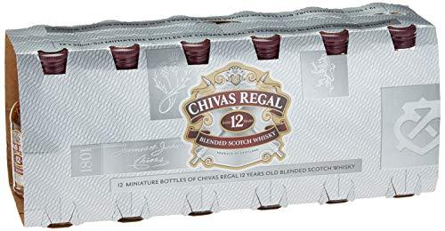 Set Chivas Regal 12 Jahre Premium Blended Scotch Whisky, Miniatur-Set 12er-Box, 12 Jahre gereifter Whisky aus schottischen Malt und Grain Whiskys, 12 x 0,05 L