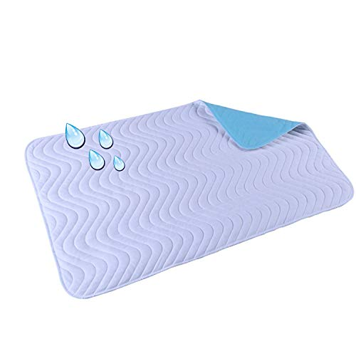 Gesteppte dickere wasserdichte Wickelunterlage Super saugfähige Windel Pad Altes Erwachsenes Baby kann in der Maschine waschbar sein (Color : Blue, Size : L)