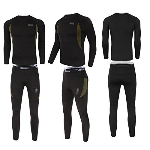 UNIQUEBELLA Herren Winter Suit Ski Thermo-Unterwäsche Set Thermowäsche langarm Unterhemd + Thermo lange Unterhose - 2