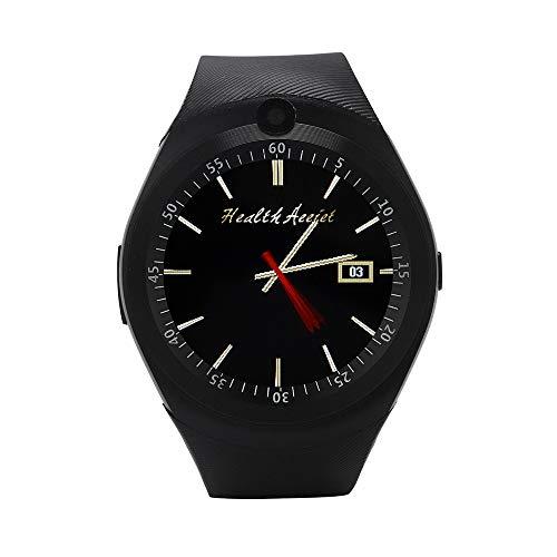 Blue-Tooth Smart Watch 2018 Telefon Kamerad Volle Runde Bildschirm Uhr Intelligente Armbanduhr mit SIM Kamera Kompatible Android für Herren Damen (Schwarz) -