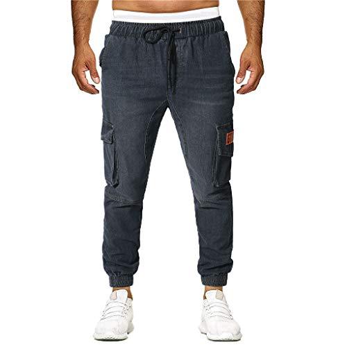 Jeans Casual Fit Fit Cut Cut Skinny Stretch Lavato a Matita Allentata Moda Pantaloni Casual Uomo (M,16- Nero)