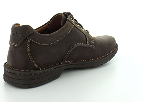 Clarks Untilary Way Round Toe Leder Oxford Dark Brown