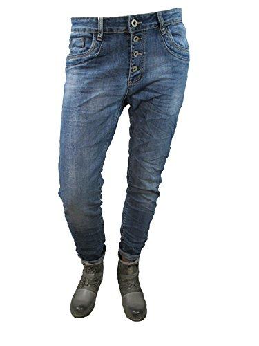 Karostar by Lexxury Denim Stretch Baggy-Boyfriend-Jeans Boyfriend 4 Knöpfe offene Knopfleiste weitere Farben (XL-42, Denim) Denim Baggy Jeans