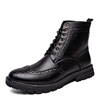 DADIJIER Brogue Ankle Boot for Men Motorcycle Boots Genuine Leather Lace up Burnished Style Stitching Carving Wingtip Anti-slip Durable (Color : Black, Size : 42 EU)