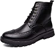 DADIJIER Brogue Ankle Boot for Men Motorcycle Boots Genuine Leather Lace up Burnished Style Stitching Carving