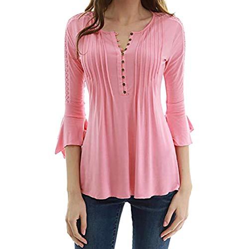 ABsoar Pullover Damen Herbst Blusen 3/4 Ärmel Schlank Shirt Sexy V-Ausschnitt Blusen Spitzennähte Tasten Bluse Frauen Tops Shirt Oberseite...