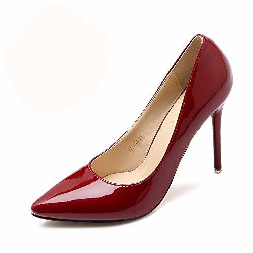 Hxvu56546 Les Nouveaux Talons Elégants Et Talons Au Printemps Et Automne Chaussures Femmes Chaussures Simple Travail Chaussures Vin Rouge