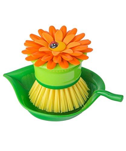 VIGAR Flower Power Cepillo lavaplatos bolito con Bandeja, Naranja, 14,5 x 9,5 x 7,5 cm