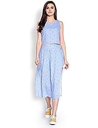 Abiti Bella Women's Blue and White Stripe Long Divider Woven Skirt Set