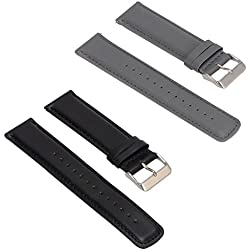 Set of 2 Replacement Leather Bands for LG LGW110 G Watch R Smartwatch (Black+Grey)
