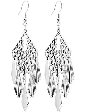 2LIVEfor Statement Ohrringe Silber Gold Tropfen Ohrringe lang Hängend Fächer Blatt Ohrringe Bohemian Vintage Orientalisch