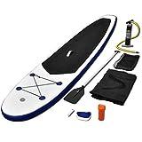 vidaXL Tabla de Surf de Remo inflable de color azul y blanco con SUP regulable