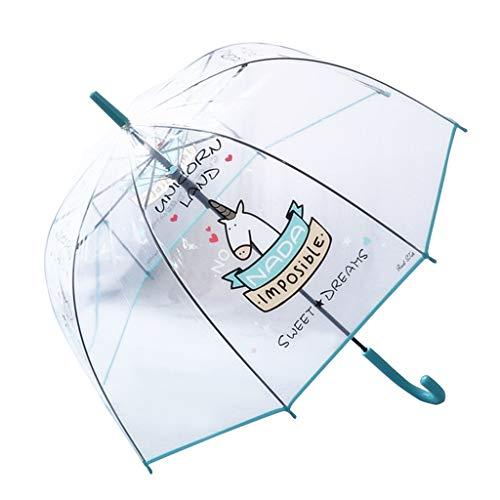 Paraguas Transparente, a Prueba de Viento y a Prueba de Lluvia, Forma de la bóveda de Moda con Unicornio patrón, Paraguas Largo, Azul