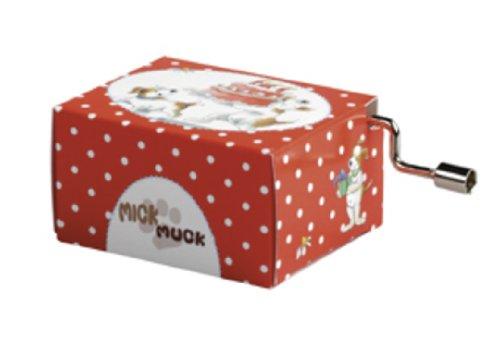Pagna 20536-15, Carillon con melodia Happy Birthday Mick & Muck, 8,4 x 4,5 x 3 cm, Rosso