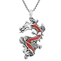 AeraVida Legendary Chinese Dragon Reconstructed Red Coral Inlaid .925 Sterling Silver Pendant Necklace