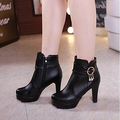 Rtry Femmes Chaussures Similicuir Automne Hiver Mode Bottes Bottes Chunky Talon Bout Rond Bout / Bottines Boucle Pour Vêtements De Sport Noir Brun Us7.5 / Eu38 / Uk5.5 / Cn38