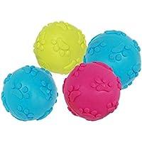 POPETPOP Perro de Mascota Cachorro Duradero Juguetes para Masticar Bolas Dentición Bolas chillonas 6pcs (Color Aleatorio)