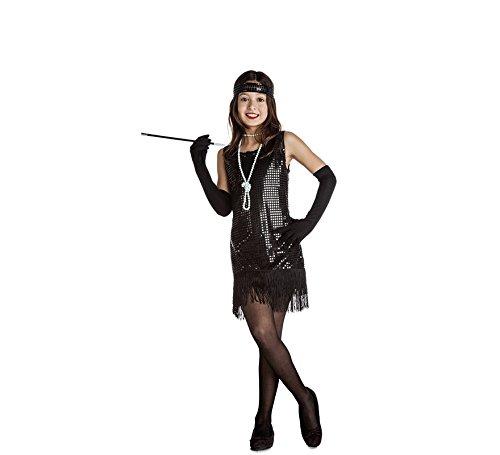 Imagen de disfraz de charlestón negro con flecos para niña