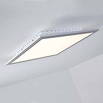 LED Panel 32W Deckenleuchte, 42 x 42 cm eckig, inkl. Fernbedienung, 2.500 Lumen, dimmbar, 2700-6500K, Metall / Kunststoff, alu / weiß