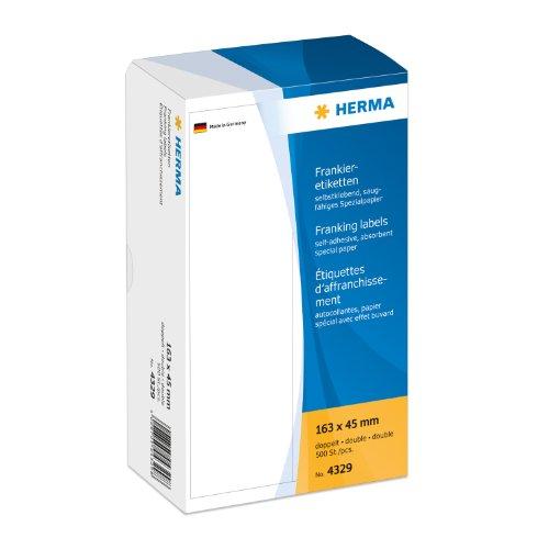 Herma 4329 Frankieretiketten für Frankiermaschinen (163 x 45 mm) weiß, 500 Etiketten, doppelt, saugfähiges Spezialpapier