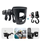 Pram Cup Holder, Pushchair/Stroller Cup Holder, Universal Baby Bottle Pram Organiser, Drink and Coffee Cup Holder, with 2 Pram Hooks, Can Be Used for Baby Buggy, Bike and Wheelchair