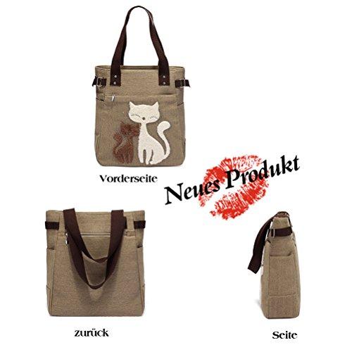 Honeymall Donne Canvas Handbag Vbiger Borse da Donna in Tela Gatto Carino Borse a Spalla Cachi
