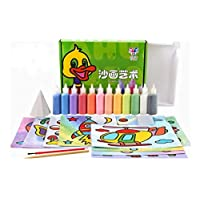 12Pcs/lot Kids DIY Sand Painting Toy Children Drawing Board Sets Bubble Sand Handmade Picture Paper Craft Sand Draw Art(Card Random)