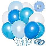 Set 100 Palloncini Blu & Bianchi + Nastro 100m | 5 varietà di Colore | Palloncini in Lattice da 30cm | Decorazioni per Compleanno, Battesimo, Prima Comunione e Baby Shower