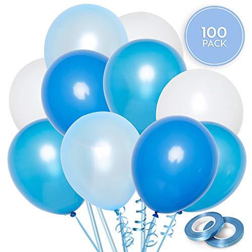 100 Blau & Weiß Ballons Set + 100m Band | 5 Gemischte Farben | 30 cm Latex Luftballons | Geburtstag, Taufe & Babyshower Deko