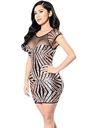 YiLianDa Mujer Vestido Tubo Fiesta Corto Cuello Redondo Mini Vestido Tul Lentejuelas