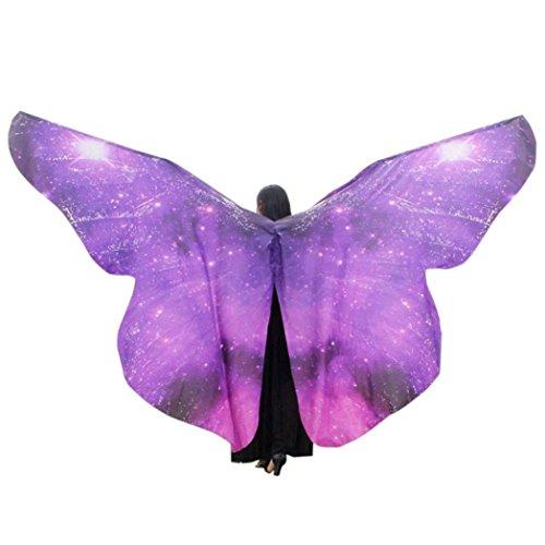 OVERDOSE Frauen 197 * 125CM Weiche Gewebe Schmetterlings Flügel Schal feenhafte Damen Nymphe Pixie Kostüm Zusatz (260 * 150CM, F-Purple)