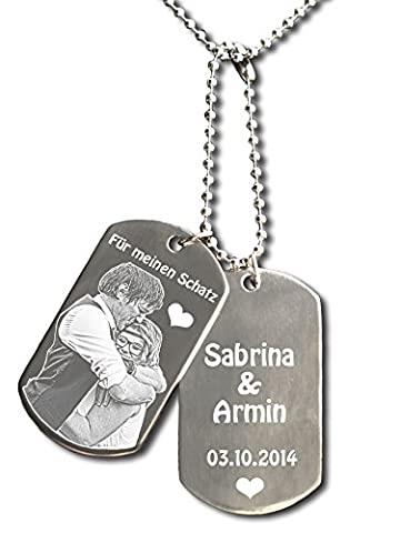 Partner Key Fob with Photo and Customised Engraving, Individually Customisable, Dog Tags Approximately 50 x 28 mm - Stainless Steel - Engraved - Perfect Gift for Different Occasions and Loved