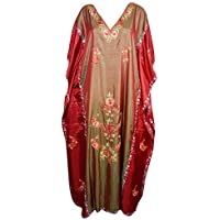 Mogul Interior Ladies Double Shades Maxi Kimono Silk Kaftan Tunic Embroidered Kaftan Dress Free Size