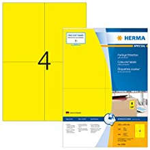 HERMA Self Adhesive Coloured Labels, 4 Labels Per A4 Sheet, 400 Labels For Printers, Yellow, 105 x 148 mm (4396)
