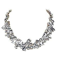 Jerollin Schoene Damen Halskette Collier Chokerkette Bib Kette Halsreif aus weissen Kristallen Statement Kette Barock Kette