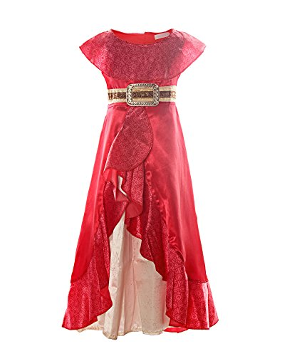 ReliBeauty Elena Prinzessin Kleid Mädchen Kostüm Armlos Rundausschnitt Disney Avalor Glänzend Kontrast Falten Rock, Rot, 130(M)