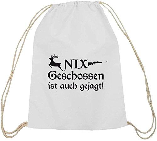 Shirtstreet24, NIX GESCHOSSEN, Jäger Jagd Baumwoll natur Turnbeutel Rucksack Sport Beutel weiß natur