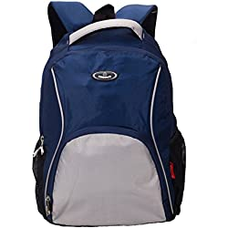 Cosmus MOSCOW Navy Blue & Light Grey Laptop Backpack 30L Black Polyester Bag
