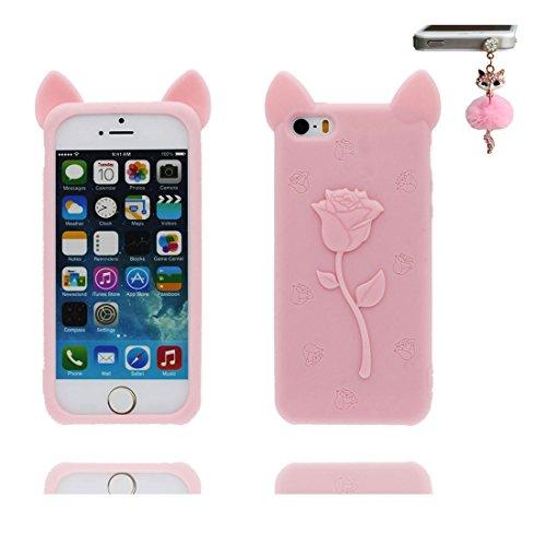 Coque iPhone 5, iPhone 5S Case [ TPU 3D Cartoon lapin striped Shirt ] Skin Cover iPhone 5G SE 5s 5C Étui, Shell souple durable anti-chocs et Bouchon anti-poussière Pink