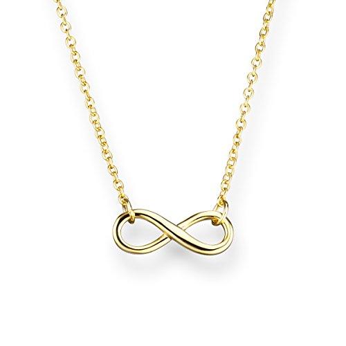 Glanzstücke München Damen-Halskette Infinity Sterling Silber gelbvergoldet 40 + 5 cm - Silberkette mit Unendlichkeit Zeichen Kette mit Anhänger Unendlichkeitssymbol
