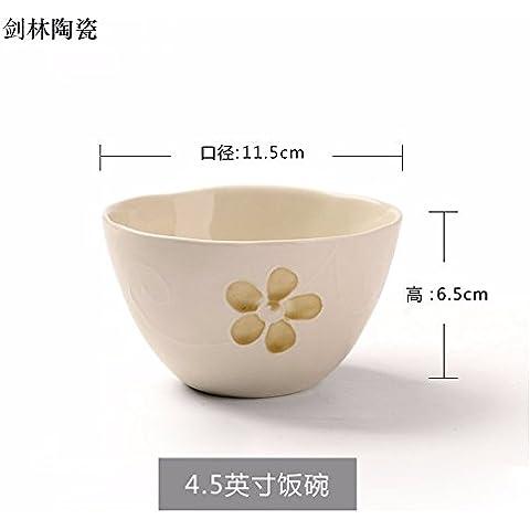 Il riso ciotole di riso bocce di piccole , in ceramica per usi domestici ciotola per mangiare il riso bocce , una singola bianco ,11,5*6,5 cm
