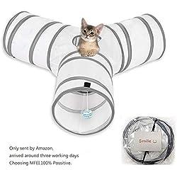 Cat Play Tunnel, MFEI Pet Tunnel 3 Way Crinkle Tubo plegable Toy Tunnel para gatos Conejos, perros, mascotas