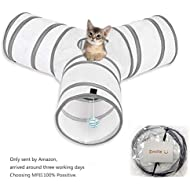 Cat Play Tunnel, MFEI Pet Tunnel 3 Way Crinkle Collapsible Tube Toy Tunnel for Cats Rabbits, Dogs, pets