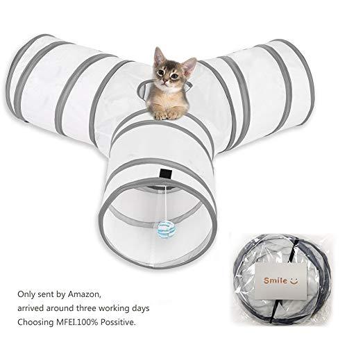 Cat Play Tunnel, MFEI Pet Tunnel 3 Way Crinkle Tubo plegable...