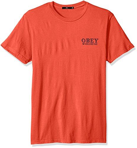 Patch Crewneck T-shirt (Obey Herren Patch IT UP Crewneck Tshirt T-Shirt, Dusty Paprika, XX-Large)