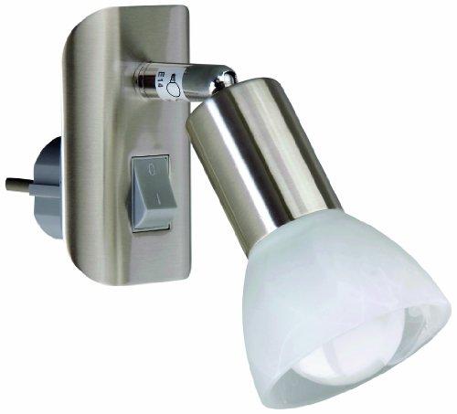 Leseleuchte, Steckerlampe, Steckerspot, E14, 25 Watt, dreh- und schwenkbar, matt-nickel