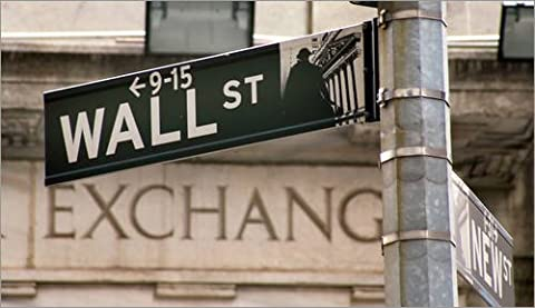 Reproduction sur toile 90 x 50 cm: Wall Street - street sign de Colourbox - Reproduction prête à accrocher, toile sur châssis, image sur toile véritable prête à accrocher, reproduction sur toile