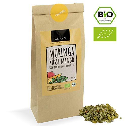 AQAYO Moringa küsst Mango | 100{c61a831b4faaf3126a11466cc0dd4622732bf53557397ca94a06e6638844888a} Bio-Moringa Mango Tee | Getrocknete Moringablätter mit echten Mangostücken (50g Teemischung)