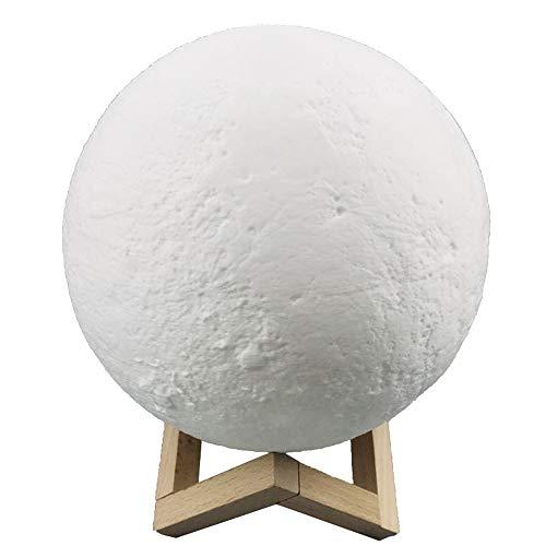 JYKING Mond Lampe 3D-gedruckte Mondlicht Nachtlicht Kinder mit 16 Touch-Steuerung Helligkeit dimmbar per USB ladbar Dekorative Lichter Tischlampe Berühren Sie + Fernbedienung 16 farben 20CM -